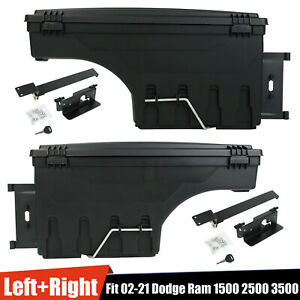 For Dodge Ram 1500 2500 3500 2x Lockable Storage Truck Bed Tool Box Left
