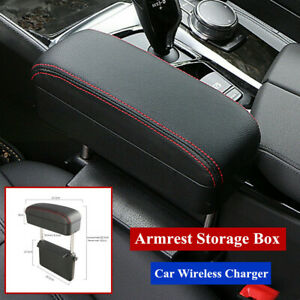 Universal Car Truck Wireless Charger Armrest Storage Box Leather Center Console