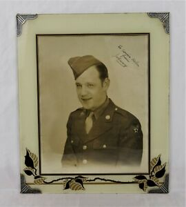 Wwii Soldier Photo Reverse Painted Glass Victory Type Easel Back Picture Frame