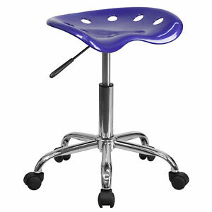 Flash Furniture Deep Blue Tractor Seat Chrome Stool Lf 214a deepblue gg