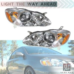 Headlights Lamps Left right For 2003 2008 Toyota Corolla Ce Le 4door Sedan Usa