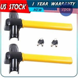 2 Anti theft T steering Wheel Lock Auto Car Security Rotary New 4 Keys Supplied