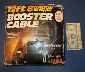 Carol 12 Foot 8 Gauge All Copper Booster Jumper Cable New In Box 1980 S