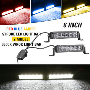 6 120w Strobe Led Light Bar Flash Driving Warn Light Amber red blue Off Road 8