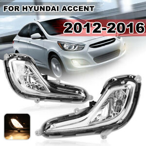 Pair Front Bumper Fog Light Lamp For Hyundai Accent 2012 2013 2014 2015 2016