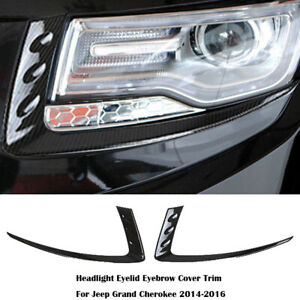 For Jeep Grand Cherokee 2014 16 Headlight Eyelid Eyebrow Cover Trim Carbon Fiber