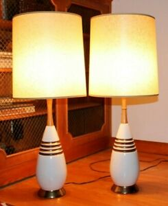 Mid Century Modern Wood Ceramic Table Lamps Tinsel Shades