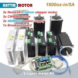 3 Axis Nema34 Stepper Motor 1600oz in 154mm cw8060 Driver 80v dc Cnc Router Kit