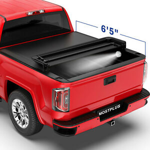 6 5ft 4 Fold Truck Bed Tonneau Cover W Led Bulb For 19 20 Silverado Sierra 1500