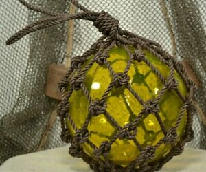 Vintage Glass Fishing Float In Yellow