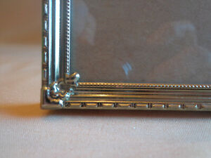 Vtg Antique Gold Metal Picture Frame Easel 8x10 Photo Fancy Corners Embossed