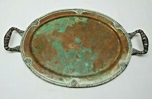 Federal Silver Plate Over Copper Serving Tray With Handles