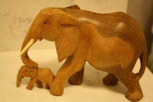 Vintage Hand Carved In Kenya Wooden Elephant Mama With Trunk On Baby S Head