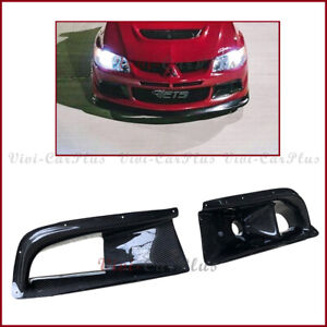 Fit On 04 05 Mitsubishi Evo 8th Carbon Fiber Front Air Duct Fog Lamp Cover Pair