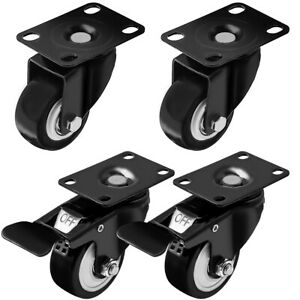 Set Of 4 Swivel Plate Casters 1 5 Polyurethane Wheels 2 With Total Lock Brake