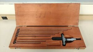 Starret Depth Micrometer No 440 Set With 9 Rods In Wooden Case