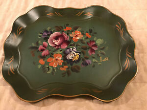 Nashco Products Hand Painted Signed Green Toleware Tray Multi Color Floral