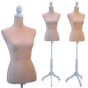 Female Mannequin Torso Dress Form Clothing Display With Whitetripod Stand New