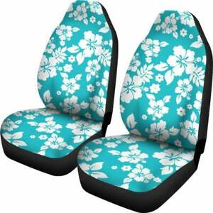 Turquoise Teal Hibiscus Flower Hawaiian Pattern Car Seat Covers Universal Fit