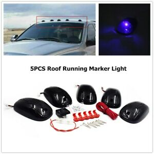 5x 9led Cab Roof Top Marker Lights Replace For Dodge Ram Smoked Lens blue Light