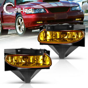 For 99 04 Ford Mustang Amber Yellow Lens Front Driving Fog Lights Lamps W Bulbs