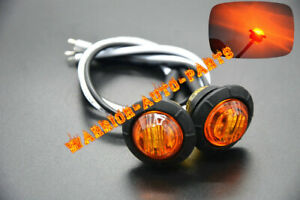 2x 3 4 Marker Lights Yellow Triple Diode Led Truck Trailer Clearance Indicator