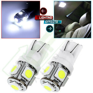 2x Ultra Bright White 5 5050 smd Led T10 168 194 License Plate Light Bulbs Lamp