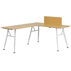 L shape Computer Desk With Beech Wood Laminated Top White Metal Frame