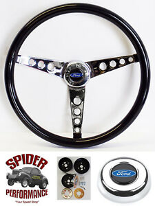 65 69 Galaxie 500 Fairlane Ltd Steering Wheel Blue Oval 15 Glossy Grip