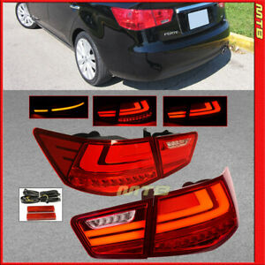 L Style Red Rear Tail Lights Led For Kia Forte 2010 2013 Inner Trunk Brake Lamps