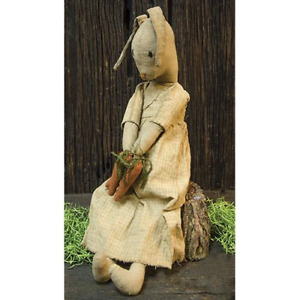 Easter Honey Bunny Doll Country Farmhouse Primitive Fabric Cloth Carrots Spring
