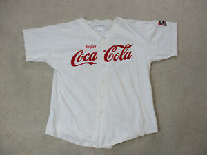 VINTAGE Coca Cola Baseball Jersey Adult Extra Large White Red Soda Pop Coke 90s*