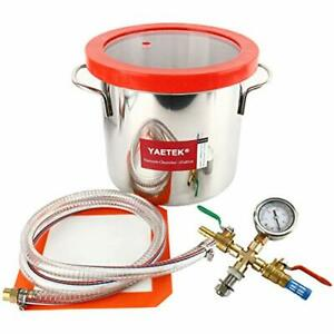 2 Gallon Vacuum Chamber Stainless Steel Kit 160 f Silicone Gasket Epoxies Degass