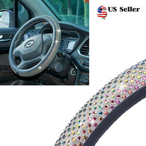 15 Inch Universal Car Steering Wheel Cover Skidproof Shiny Colorful Crystals Us