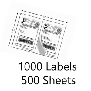 Labels 8 5 X 5 5 1000 Shipping Labels Half sheet Self adhesive Usps Ups Fedex