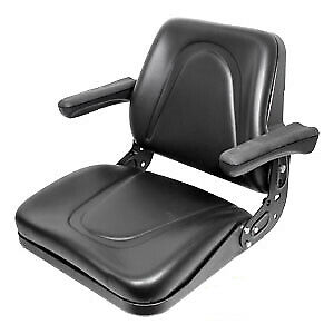 Universal Tractor Seat With Flip Up Arms And Slide Track Black For Kubota