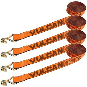 Vulcan Winch Strap With Heavy Wire Hook 2 Inch X 15 Foot 4 Pack Proserie