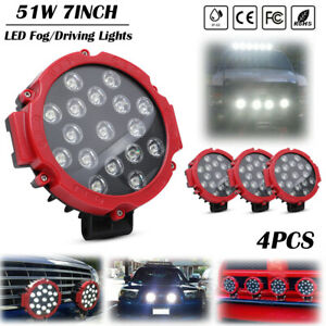 4pcs 7inch 51w Round Led Work Lights Spot Offroad Boat Atv Suv Truck Lamp Red