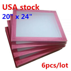 Us 6pcs 20 X 24 Silk Screen Printing Screens Frame With 180 White Mesh