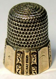 Antique Simons Bros Gold Band Sterling Silver Thimble Fluted Octagon Dtd 1889