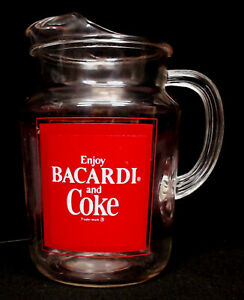 ENJOY BACARDI RUM AND COKE COCA-COLA GLASS PITCHER ~ 2 QUART RED on CLEAR ~ VGUC