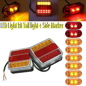 2x Rear 16 Led Submersible Trailer Tail Lights Side Marker Kit Boat Waterproof