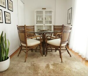 Vintage Rattan Dining Table Upholstered Arm Chairs Cane Round Glass Vtg Bamboo