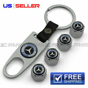 Valve Stem Caps Keychain Keyring Wheel Tire For Mercedes Benz Key Fob Keys Vs100