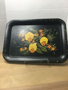 Vintage Hand Painted Floral Metal Toleware Tray Signed 17 By 13