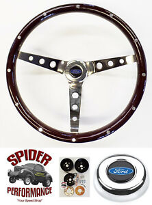1970 1977 Ford Pickup Bronco Steering Wheel Blue Oval 15 Classic Wood