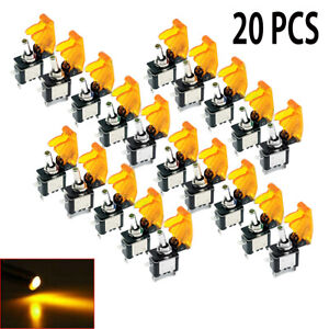 20x 12v 20a Amber Led Light Rocker Toggle Switch Spst On off For Car Truck Boat