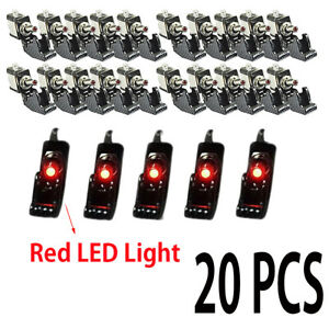 20x Aircraft Style 12v 20a Red Led On off Spst Toggle Switch W Cover Waterproof