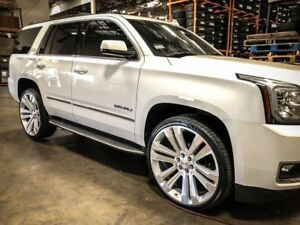 22 Gmc Replica Rims Silver Wheels Tires Fit Tahoe Sierra Yukon Silverado Ltz