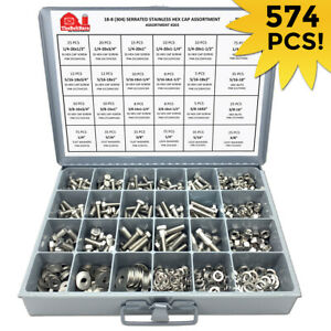 18 8 Stainless Steel Hex Cap Screw Bolt Nut Washer 304 Assortment Kit 574 Pcs